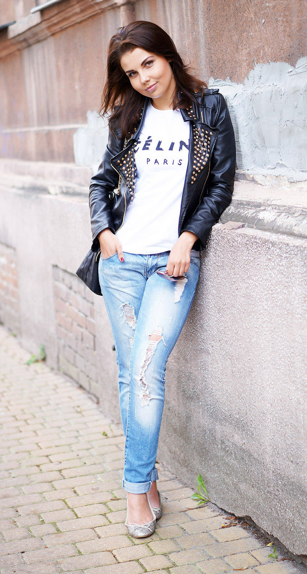 a piece of anna jacket t-shirt bag jeans shoes embellished leather jacket