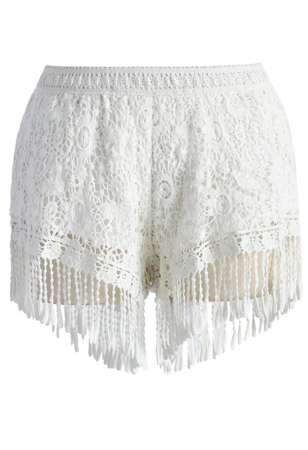chicwish fringed shorts white lace crochet short
