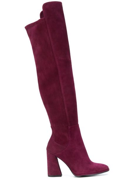 STUART WEITZMAN women boots leather suede purple pink shoes