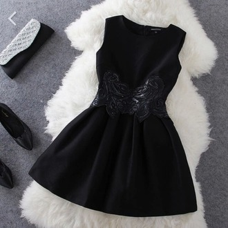 dress black leather chic cute girly