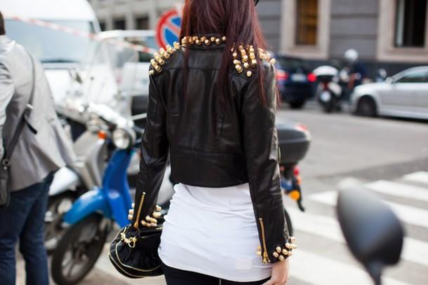 jacket leather jacket spikes studded jacket black dress gold studs