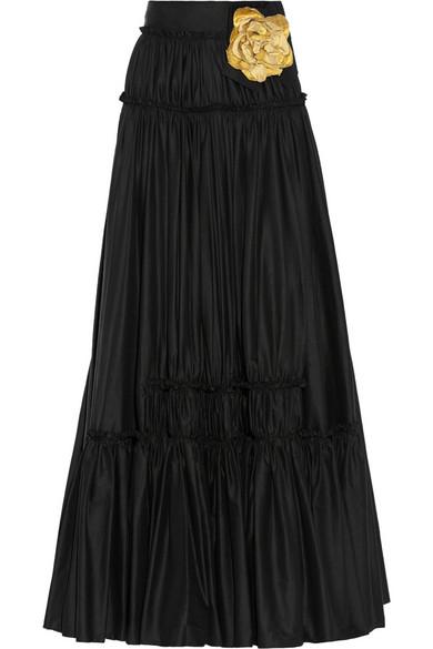 Embellished poplin maxi skirt