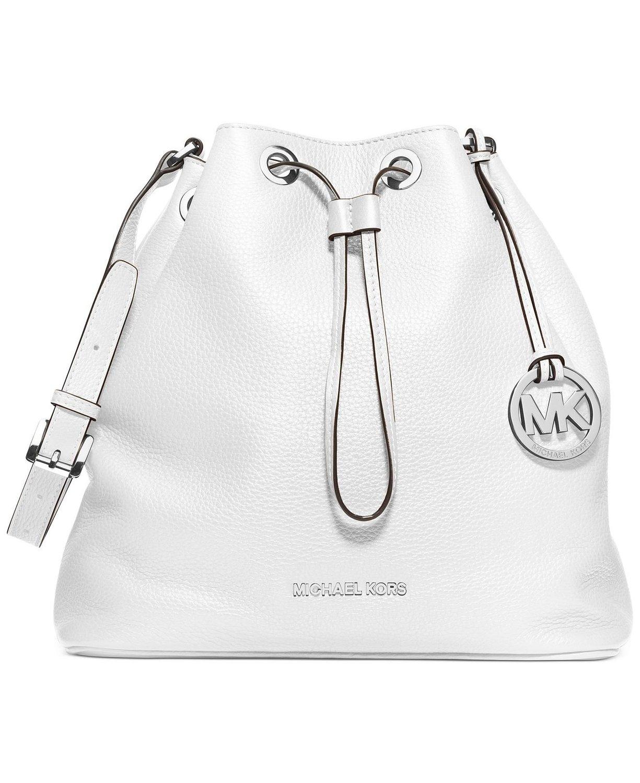 467208e83968 MICHAEL Michael Kors Jules Large Drawstring Shoulder Bag in Optic White  Leather: Handbags: Amazon.com