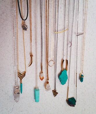 jewels stone necklace crystal quartz sun torquise