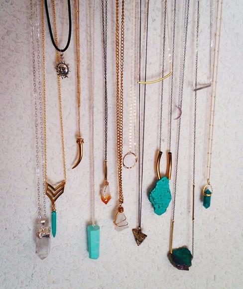 jewels sun stone necklace crystal quartz torquise