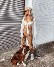shoes,top,crop topw,white top,pants,brown pants,bag,sunglasses