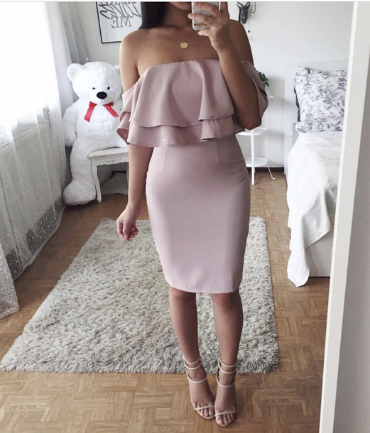 5bcfb6c3c73c dress off the shoulder dress pink dress bodycon dress bardot dress ruffle  dress ruffle frill bodycon