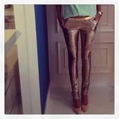 pants,gold,skinny pants,golden pants,jeans