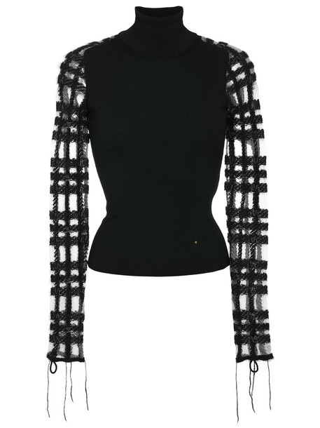 top knitted top women turtle black