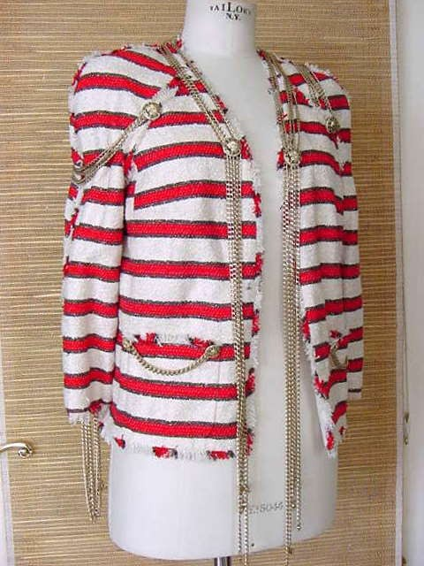 Chanel 08p runway stripe jacket with cc chains rare stars & stripes collection size 40