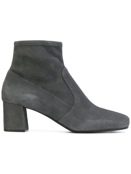 Prada women ankle boots leather suede grey shoes