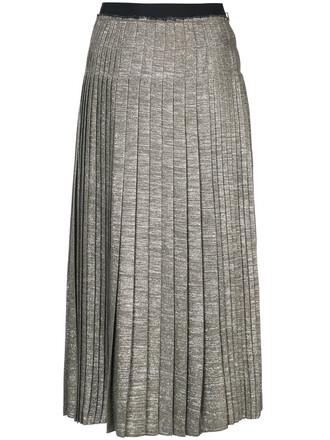 skirt midi skirt pleated women midi wool grey metallic