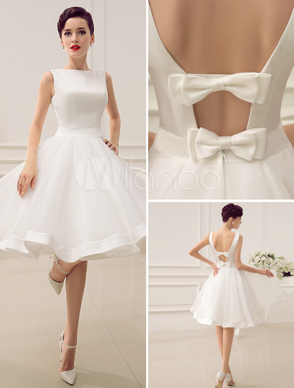 Out backless satin short wedding dress with bow decor sash cut out backless satin short wedding dress with bow decor sash milanoo junglespirit Gallery