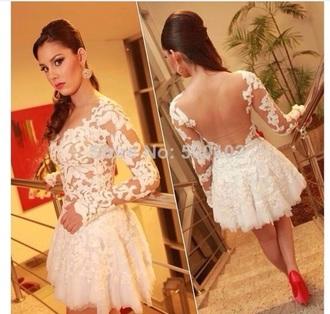 dress white dress see through dress long sleeve dress short prom dress skirt
