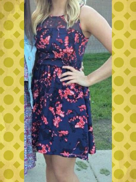 dress pink flowers short dress dress