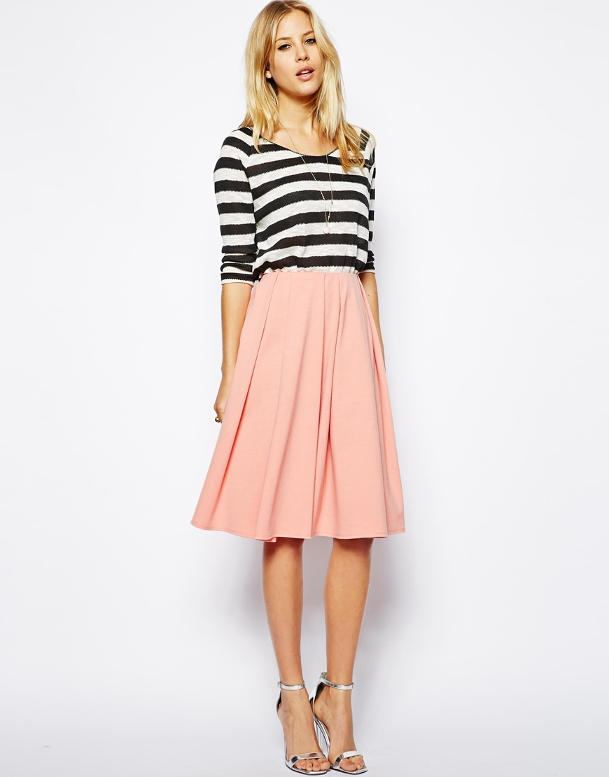 5d56023a9 ASOS Midi Skirt in Ponte with Bold Pleats at asos.com