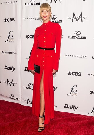 dress red dress red sandals shirt dress karlie kloss clutch ny fashion week 2016 model off-duty