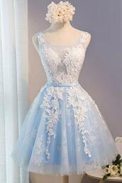 dress,light blue,appliques,short,o-neck,prom dresses short description dress,sleeveless
