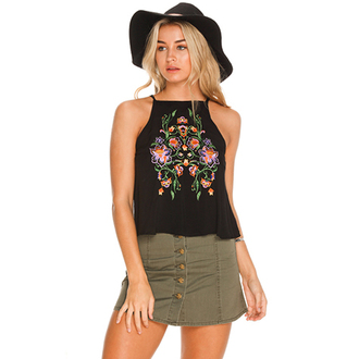 shirt roses embroidered halter top
