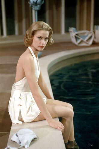 swimwear grace kelly actress one piece swimsuit white swimwear retro swimsuit retro