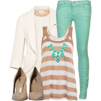 jewels tank top cardigan jeans shoes pants
