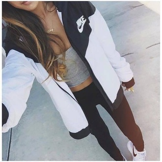 coat nike black white