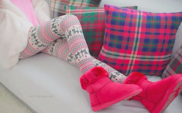 shoes hot pink ugg boots pink ugg boots boots leggings aztec print leggings pants