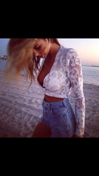 tank top white lace top t-shirt top shorts blouse lace high waisted shorts white