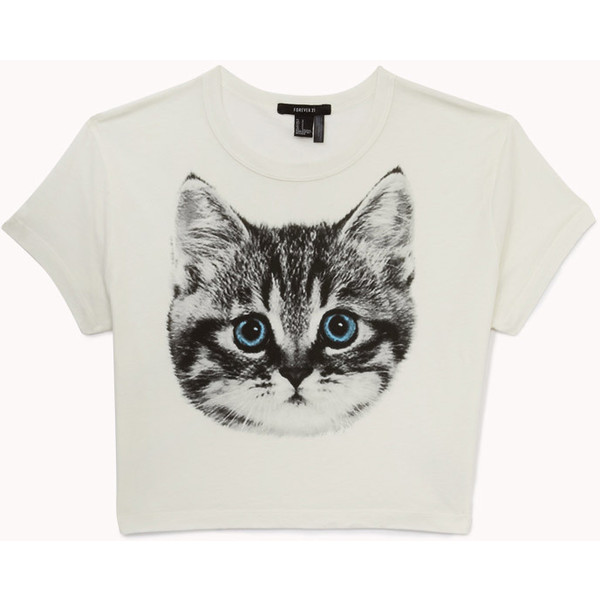FOREVER 21 Cat Graphic Cropped Tee - Polyvore