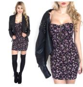 dress,floral dress,boobtube,summer,summer dress,jacket
