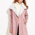Pink Cable Knit Sleeve Faux Shearling Coat -SheIn(Sheinside)