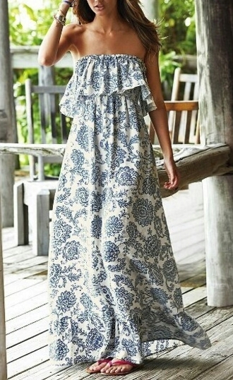 dress blue white strapless floral maxi fashion boho gypsy vintage strapless flounce printed maxi dress for women style trendy rg maxi dress