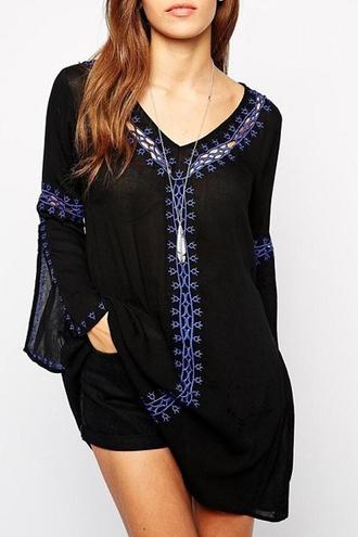 blouse boho boho chic blue navy summer summer dress caftan caftan dress casual blogger zaful trendy style