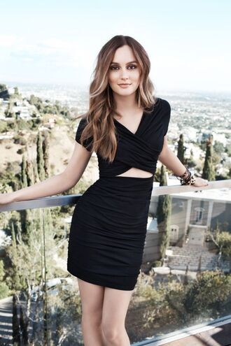 leighton meester black dress