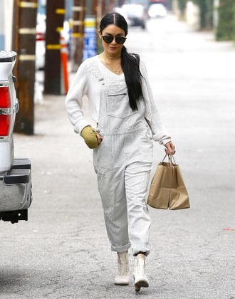 stripes white dungarees overalls vanessa hudgens celebrity style