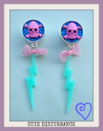 jewels pastel skull bow lighting pink blue silver ear plug dangle earrings gauge jewelry
