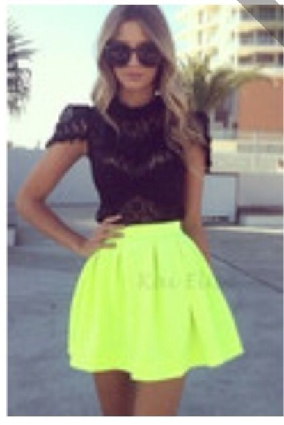 Skirt: dress, lace dress, black top, yellow skirt, skater skirt ...