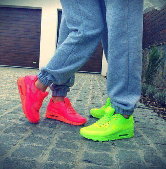 shoes yellow neon yellow neon pink neon air air max nice style 2014 hot summer wear jogging grey