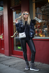 camila carril,blogger,shoes,scarf,sweater,pants,bag,sunglasses,metallic bag,crossbody bag,puffer jacket,boots,winter outfits