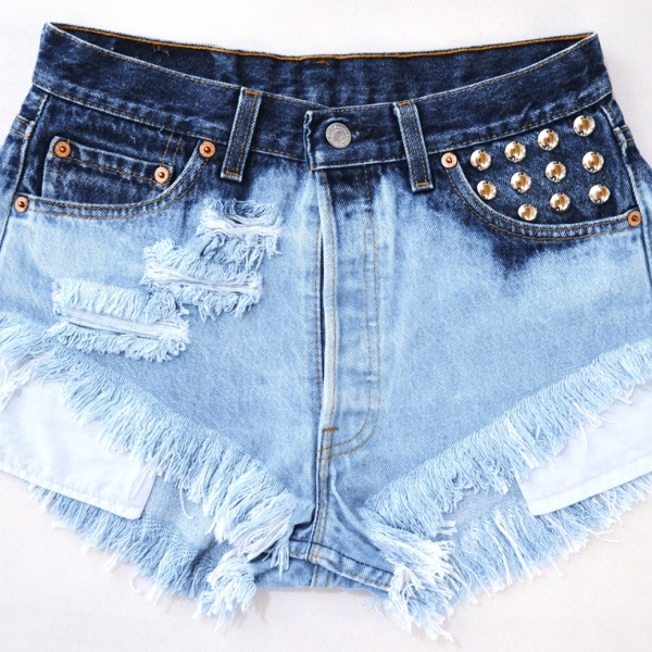 Levi's ombre high waisted frayed shorts