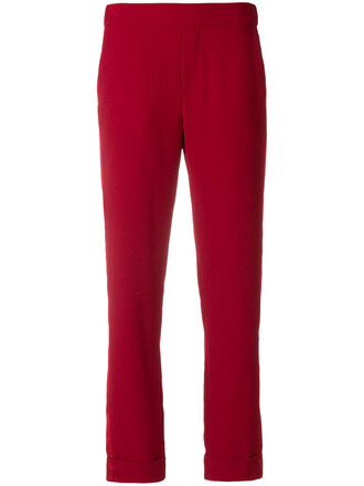 cropped women red pants