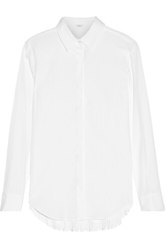 shirt pleated cotton white top