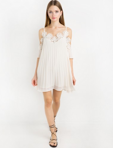 Ivory Chiffon Lace Pleated Off The Shoulder Dress
