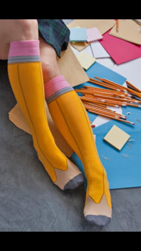 socks knee high socks pencils funny pencil socks