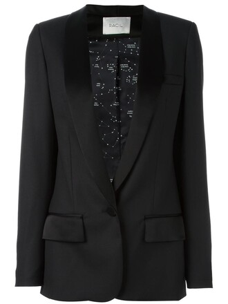 blazer women black wool jacket