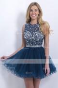 Ball Gown Bateau  Short/Mini Organza Cap Sleeves Cocktail Dresses