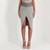 Suede Midi Skirt - Grey