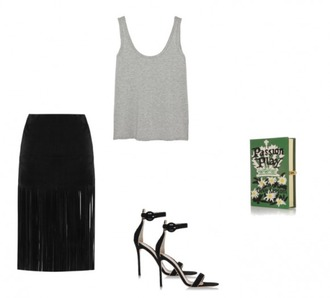 helena bordon blogger grey tank top fringe skirt clutch book