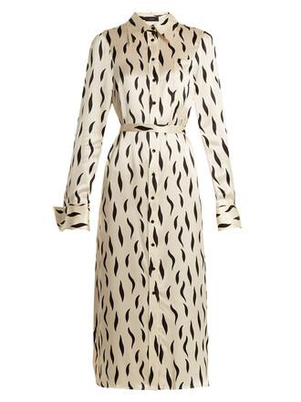 shirtdress zebra print silk cream dress