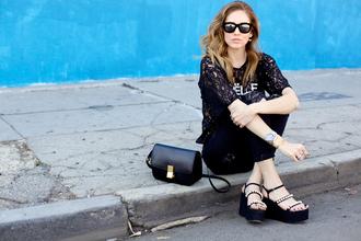 shoes black jewels bag t-shirt top jeans sunglasses the blonde salad lace